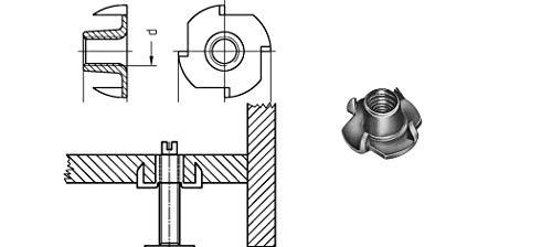 Einschlagmuttern mit 4 Einschlagspitzen | M 8 x 11mm VE = 100 Stück | Stahl, galvanisch verzinkt