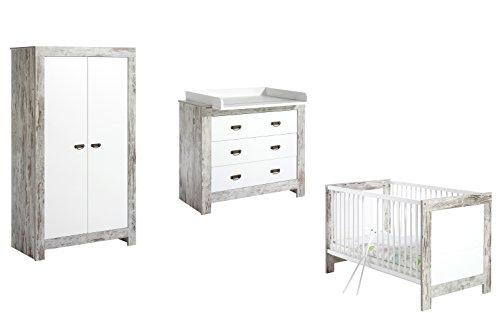 Chambre Nordic Chic lit évolutif commode armoire 2 portes SCHARDT