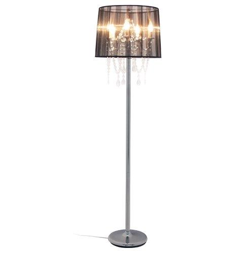 DuNord Design Stehlampe Stehleuchte VENEZIANISCHER KRONLEUCHTER schwarz Organza Lüster Barock