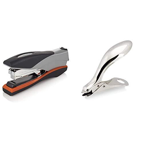 Swingline Stapler, Optima 40, Full Strip, Orange/Silver/Black, Full Size (87845) & 37201 Heavy-Duty Staple Remover, Satin Chrome Finish - S7037201A