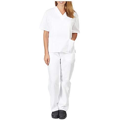 Zilosconcy Arbeitskleidung Kurzarm T-Shirts V-Ausschnitt + Hosen Pflege Set Medizin Arzt Berufsbekleidung Krankenschwester Kleidung Damen Uniformen Oberteil mit Tasche Unisex WeißL