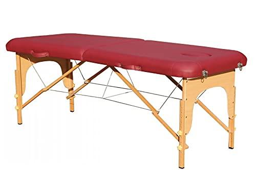 Table de massage pliante en bois à deux sections bordeaux 186x60cm