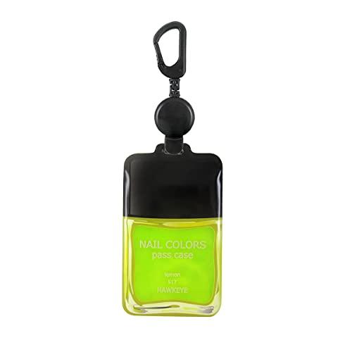 ホークアイ 【ネイル/レモン/のびパス】光に反射する パスケース 伸びるリール付き 選べるデザイン (レモン/ ネイルボトル)