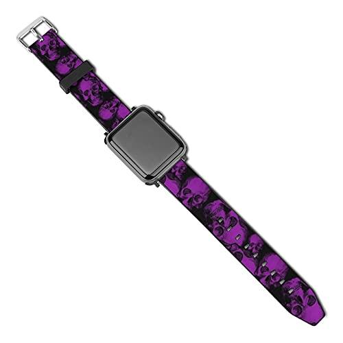 La última correa de reloj compatible con Apple Watch Band 38 mm 40 mm Correa de repuesto para iWatch Series 5/4/3/2/1, grandes calaveras moradas góticas