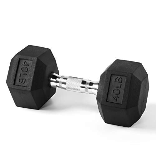 RitFit Rubber Hex Dumbbell Weight 10, 15, 20, 25, 30, 35, 40, 45, 50, 55, 60 LBS with Metal Handle for Strength Training, Full Body Workout, Functional and HIIT Workouts (1 X 40 LBS)