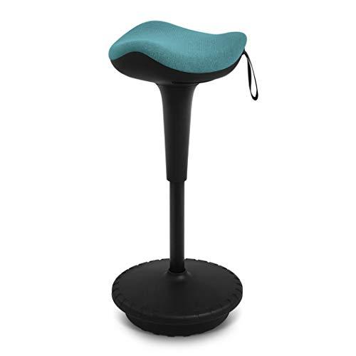 IWMH Ergonomischer Arbeitshocker, Hochverstellbare Stehhilfe, Atmungsaktiver Sitz-Steh-Hocker 360° drehbar (Blau)