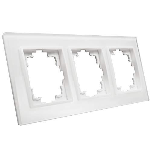 BestPlug Universal Glas-Rahmen für Steckdosen, Taster, Antennendosen, USB-Dosen, Netzwerkdosen - 3-fach - Glas-Kunststoff - Weiß