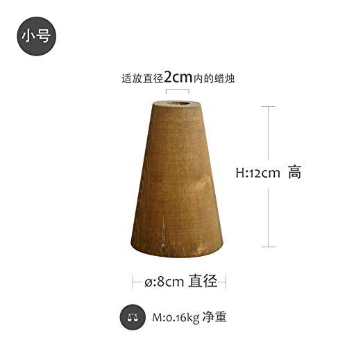 CFLFDC Kandelaar van hout, vintage, kandelaar van hout, tafeldecoratie, tafeldecoratie, voor oude kandelaar, 2 stuks (Light Curry) klein
