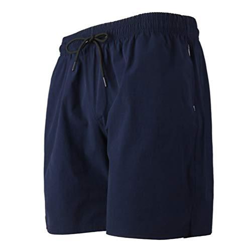 Feidaeu Shorts pour Hommes Simple Couleur Unie Cordon Élastique Cordon Élastique Taille Quotidien Droit Pantalon De Sport avec des Poches