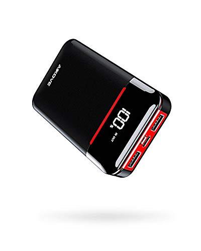Aikove Powerbank 10000mAh Ultra Compatta Caricabatterie Portatile, Alta capacità Mini Batteria Esterna con 2 ingressi e 2 uscite Luci a LED, per Smartphone, Tablet
