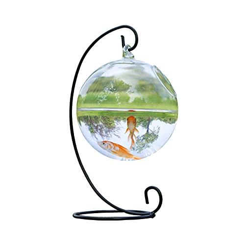 XYZMDJ 1set Forme Ronde Suspendu Verre Aquarium Poisson Bol Poisson réservoir Fleur Plante Vase Transparent Verre sphérique Fait Main Cuire de Poisson (Color : Black)