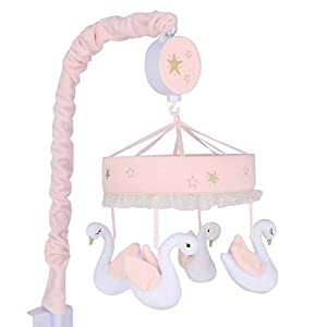 Lambs & Ivy Signature Swan Princess Pink/White Musical Baby Crib Mobile