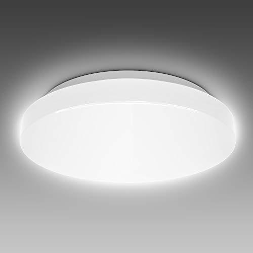 B.K.Licht 12 Watt LED Badezimmerlampe I IP44 Spritzwasserschutz I 4000K neutralweiße Lichtfarbe I 1200lm Helligkeit I LED Deckenleuchte I Badlampe I LED Deckenlampe I Größe: M I Ø288mm