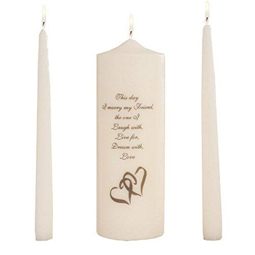 Celebration Candles Wedding Unity 9-Inch This Day I Marry My Friend Pillar Candle with Double Heart Motif and 10-Inch Taper Candle Set, Ivory