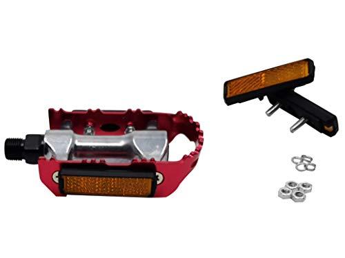 Pedal-Reflektor 4er Set Reflektoren für Pedale Orange mit Muttern und Schrauben für Fahrräder - 2