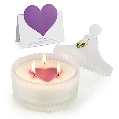 Valentine's day Candles gift, Love Shaped 3 Wick Soy Wax Romantic Aromatherapy Candles, Perfect candle Gifts for Women,Birthday,Valentine's Day,Wedding,Party, White