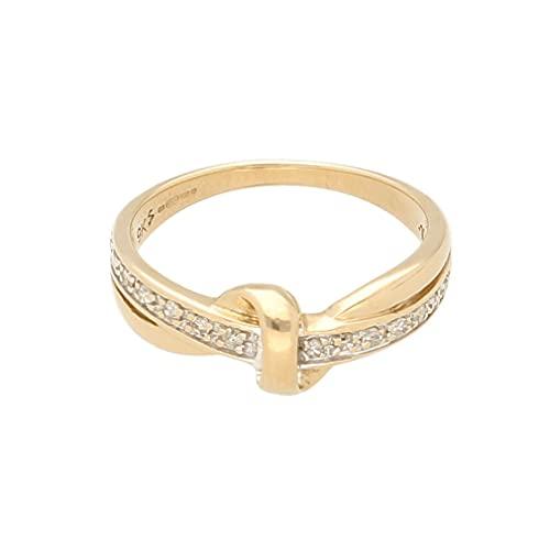 Anillo de eternidad para mujer de oro amarillo de 9 quilates de 0,10 quilates (talla K) 7 mm de ancho, anillo de lujo para mujer