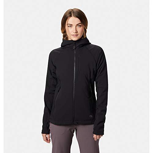 Mountain Hardwear Women's Keele Softshell Hoody | Water Resistant w/a Fleece Inner for Outdoor and Casual Wear - Black - Large