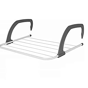 TS WITH TECHSUN Plastic Folding Clothes Towels Drying Rack Hanging On The Door Window - White