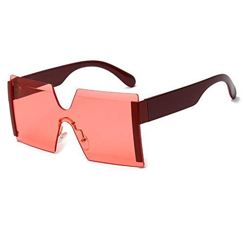 hqpaper Gafas de sol sin montura europeas y americanas Gafas de sol con personalidad de montura grande de moda Gafas de sol de tendencia-Película translúcida de borde rojo