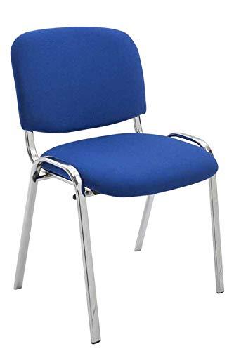 Silla De Conferencia Ken Chrom En Tela I Silla Confidente Apilable I Silla De Oficina Sin Ruedas con Base de Metal I Color:, Color:Azul