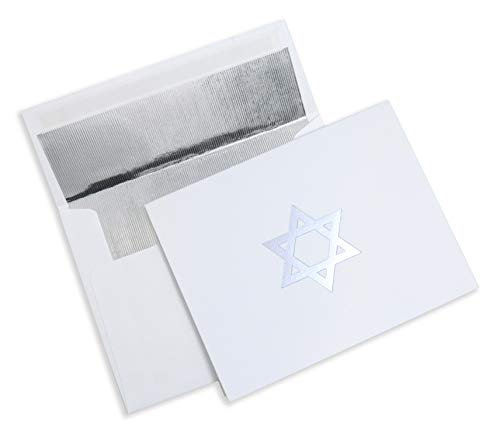 Clearstory Judaic Hanukkah Cards With Silver Foil Lined Envelopes, Features Star of David And Silver Foil Design Printed In Front (5.5 x 4.45 Inches Each, Pack Of 8)