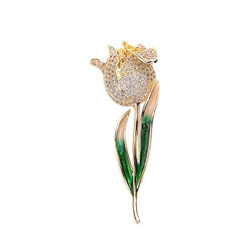 DHCZZRS774 Brosche Elegante Tulpen-Pin Broschen für Frauen Mode Zirkon Corsage Schal Pins Schmuckzubehör Kleidung Bouquet Broschen (Champagner/rot Tulpe) Broschen für Damen (Color : A)