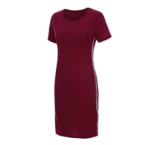 Elegante kleider Damen Kleid Cocktailkleider Ronamick Damen Casual Kurzarm Rundhals siamesische Rock schlanke Form Bleistiftkleid(XXL, Wein)