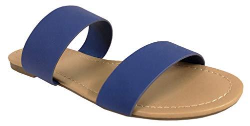 SODA Damen bequeme Dual Straps Schlupf-Sandalen Browse, Blau (Blue Nubuck Leatherette), 36 EU