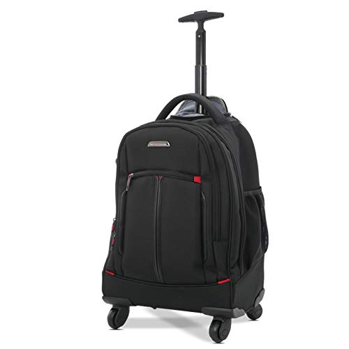 Aerolite 4 Wheeled Laptop Rucksack Overnight Weekend Trolley Backpack Business Luggage Cabin Bag - Fits Laptop up to 15.6'
