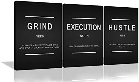 Urttiiyy 3 Pieces Grind Verb Hustle Verb Execution Noun Motivational Wall Art Canvas Print Office product image