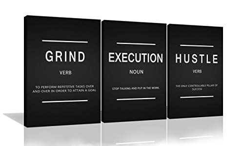 Grind Hustle Execution Entrepreneur Quotes Inspirational Wall Art Canvas Prints Motivational Wall Decor Entrepreneur Quotes Office Posters 3 Panels for Living Room Bedroom Framed Ready to Hang
