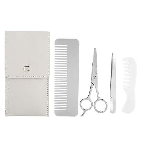 Juego de recorte de barba, tijeras, pinzas, bigote, kit de herramientas, cepillo de barba profesional, peine de peinado para hombres, salón de belleza y hogar(1#)