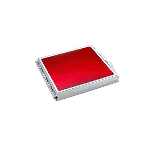Miroir de Poche Compact Émail Rouge Métal Acier Inoxydable Ultra-Mince