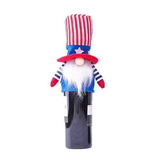 Fugift Cubierta para botella de vino de gnomo patriótico, decoración electoral del presidente americano de peluche adorno escandinavo 4 de julio regalo decoración de mesa de comedor