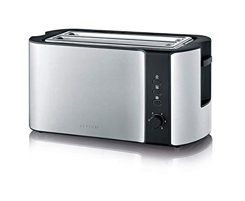 SEVERIN Automatik-Toaster, 2 Langschlitzkammern, Für bis zu 4 Brotscheiben, 1.400 W, AT 2590, Edelstahl/Schwarz