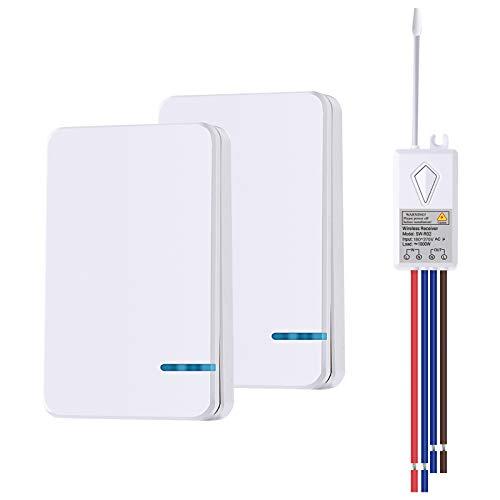 NineLeaf - Mini interruptor de radio con mando a distancia IP66 con interruptor de iluminación impermeable para interior y exterior, 1000 W, radio y botón portátil con receptor