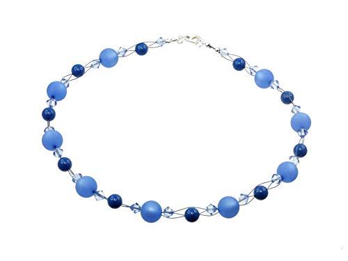 Creative-Beads blaue Perlenkette mit Polarisperlen u. Swarovski Kristallperlen 46cm lang