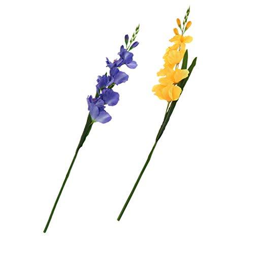joyMerit 2 Piezas De Flores Artificiales De Seda Artificiales Artificiales Arreglos Florales De Gladiolos – Azul…