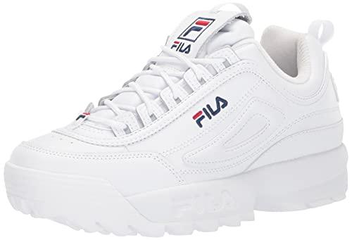 Fila womens Fila Women's Disruptor Ii Premium Sneaker, White/Navy/Red, 9 US