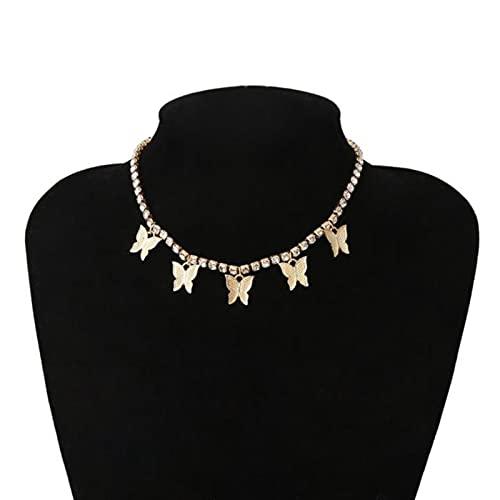 DOOLY Colgante de la Mariposa de Cristal Rosado Collares de Gargantilla de Moda Mujeres Elegante Gargantilla joyería joyería de Cristal