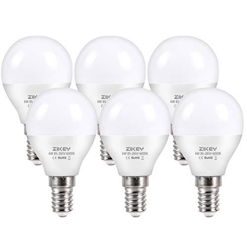 ZIKEY Lampadina LED E14 a Sfera, 6W Equivalenti a 50W, G45 Mini Globo Luce Bianca Fredda 6000K, 600LM, non dimmerabile - Pacco da 6