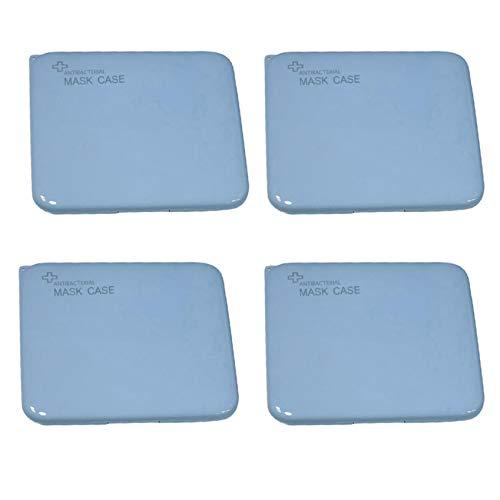 JSxhisxnuid 4 Stück Tragbare Aufbewahrungsbox Mundschutz Aufbewahrungstasche, Staubdicht Kunststoff Wiederverwendbar Maskenbox, Mund und Nasenschutz Zubehör (Blau)