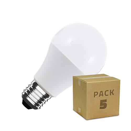 Pack Bombillas LED Casquillo E27 A60 5W (5 unidades) Color Blanco Neutro 4000K-4500K