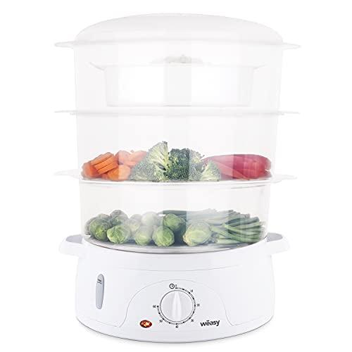 Wëasy Cuiseur Vapeur Electrique VEGE8 Multifonction 9L Compact, 3 Bols empilables amovibles pour cuisson œufs, légumes, viandes, poissons, Bol cuiseur à Riz, Minuteur 60min, Conservation des vitamines