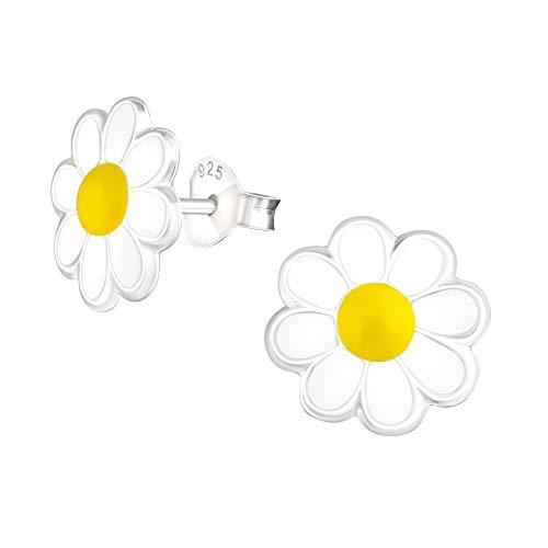 Laimons Pendientes para niña con diseño de margarita, color blanco y amarillo, 10 mm, de plata de ley 925