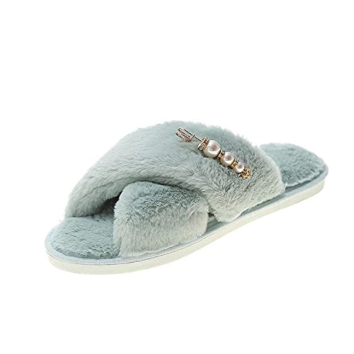 xinghui Chanclas Zapatos de Mohell Cross Home Wear Slippers Planos-Agua Verde_40