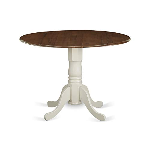East West Furniture DMT-WLW-TP Dublin Table-Walnut Table Top Surface and Black...