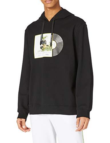 ARMANI EXCHANGE Black Hooded Sweatshirt Felpa con Cappuccio, Panda Nero, XL Uomo