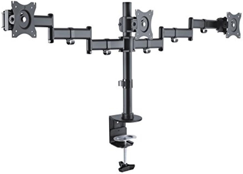 PureMounts PM-OFFICE-03 Schreibtischhalterung für 3 Monitore 33-69 cm (13-27 Zoll), neigbar  -45° bis 45°, schwenkbar  180°, drehbar  360°, hhenverstellbar, Traglast  max 8,0kg VESA 100x100 schwarz